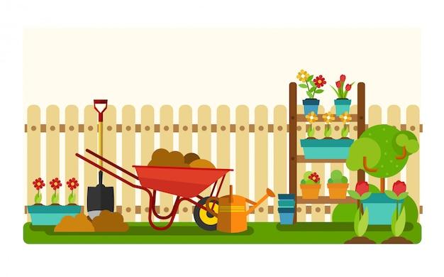Gereedschap van tuinman instellen. concept van tuinieren aard