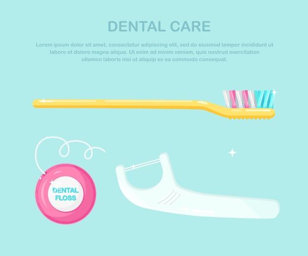 Gereedschap voor het reinigen van de mond. tandenborstel en tandzijde. mondhygiëne, mondverzorging