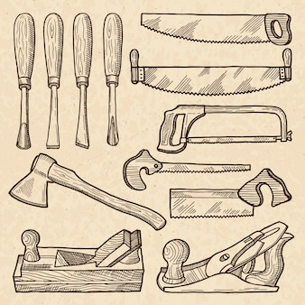Gereedschap voor houtbewerking en timmerwerk. industriële apparatuur isoleert. timmerwerktuig en uitrusting voor houtwerk