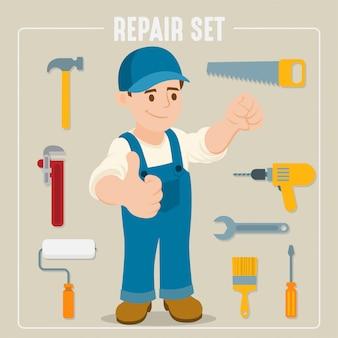 Gereedschappen voor timmerwerk en renovatie van woningen