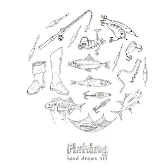 Gereedschappen voor visgerei. schetsen. hand-tekening visuitrusting.
