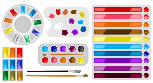 Gereedschapset voor verfkunsten. aquarel ontwerp kunstenaarsbenodigdheden, teken materialen. schilder art tools