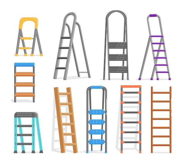 Gereedschapsset voor het bouwen van ladders van metaal, kunststof en hout. cartoon trap of vouwladder ander type voor bouwer, reparateur en schilder vectorillustratie geïsoleerd op een witte achtergrond