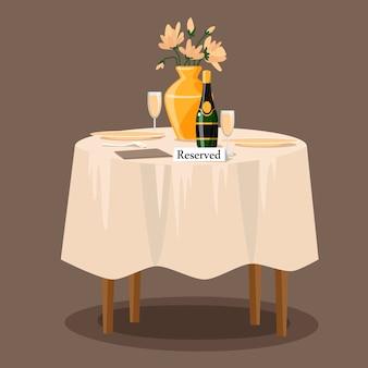 Gereserveerd teken op de tafel in het restaurant. cartoon illustratie. diner datum.