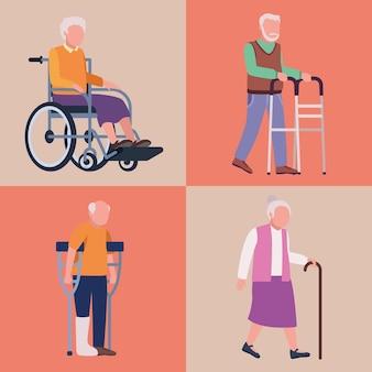Geriatrie vier oude personen