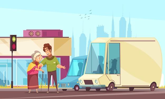 Geriatrische maatschappelijk werkers helpen ouderen buiten platte cartoon met voetgangersoversteekplaats hulp