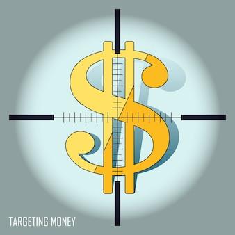 Gericht op geldconcept: gericht op een groot dollarsymbool in lijnstijl