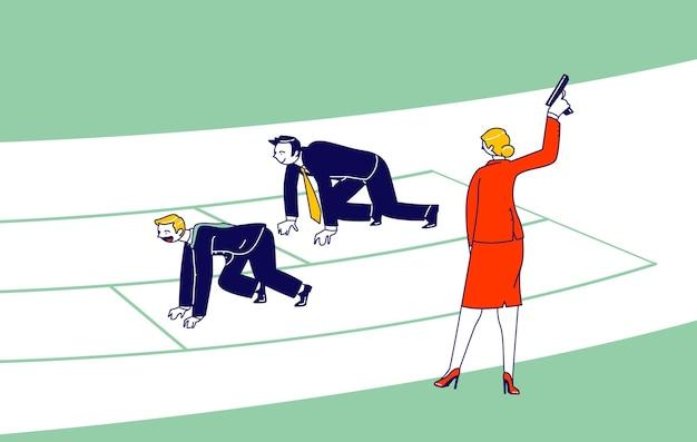 Gerichte zakenmensen managers en ondernemers mannelijke personages staan klaar voor sprintwedstrijd uitvoeren