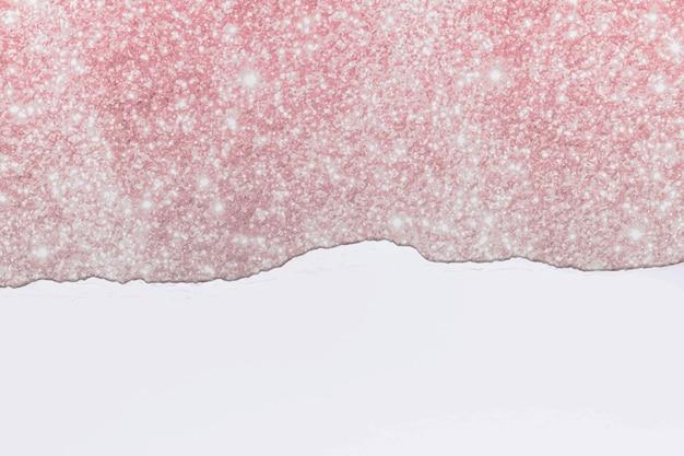 Geript papier roze rand vector op diy glittery achtergrond