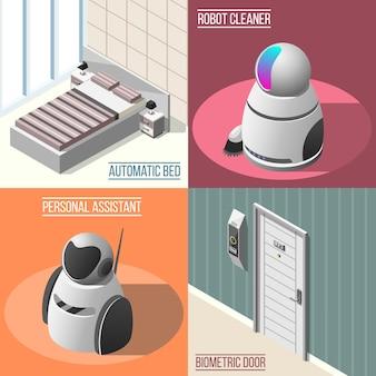 Gerobotiseerde hotels concept illustratie