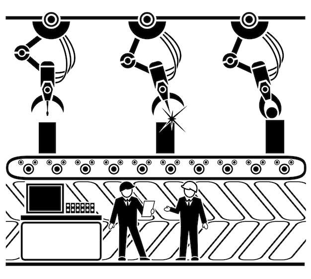 Gerobotiseerde productietransportband in lineaire stijl