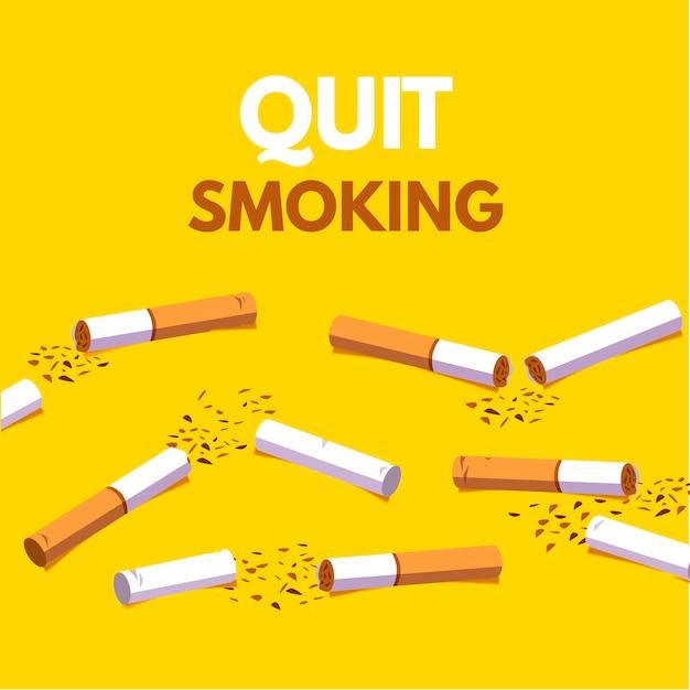 Gerookte sigaretten stoppen met roken concept