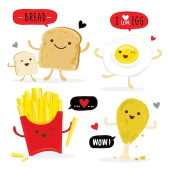 Geroosterd brood eten kippenei frieten cartoon vector