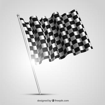 Geruite vlag met realistisch ontwerp