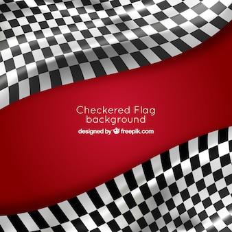 Geruite vlagachtergrond met realistisch ontwerp