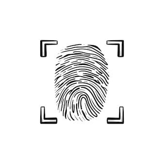 Gescande vingerafdruk in het frame hand getrokken schets doodle pictogram. identificatiesysteem, scan vingerafdruk concept. schets vectorillustratie voor print, web, mobiel en infographics op witte achtergrond.