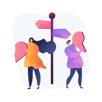 Gescheiden persoon abstract concept vectorillustratie. scheiding van tafel en bed, verdeeld paar, behalve echtgenoot, uit elkaar gaan, echtscheidingsovereenkomst, voogdij over kinderen, gebroken hart, liefde mensen abstracte metafoor.