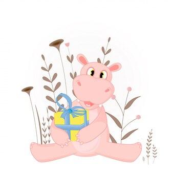 Geschenk ansichtkaart met cartoon nijlpaard