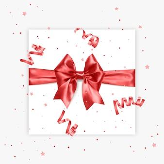 Geschenk boog realistische vector illustratie witte achtergrond rood lint aanwezig vak decoratie