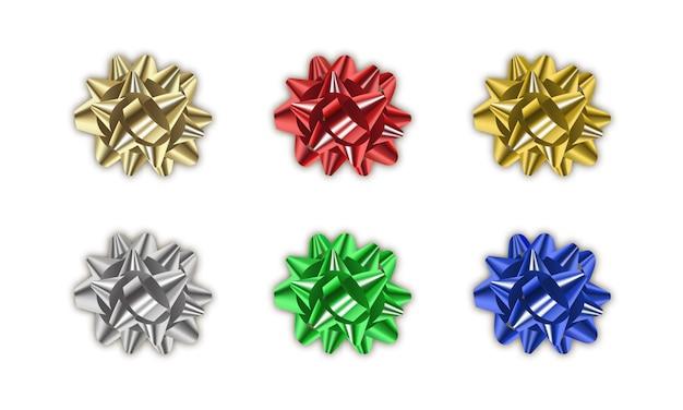 Geschenk boog. set van realistische metalen lint geschenk strikken