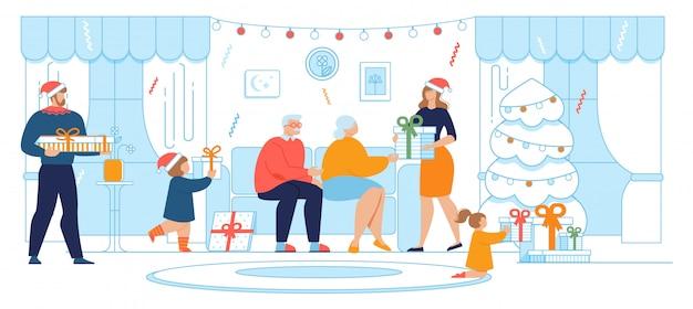Geschenk geven op kerstmis en nieuwjaar cartoon