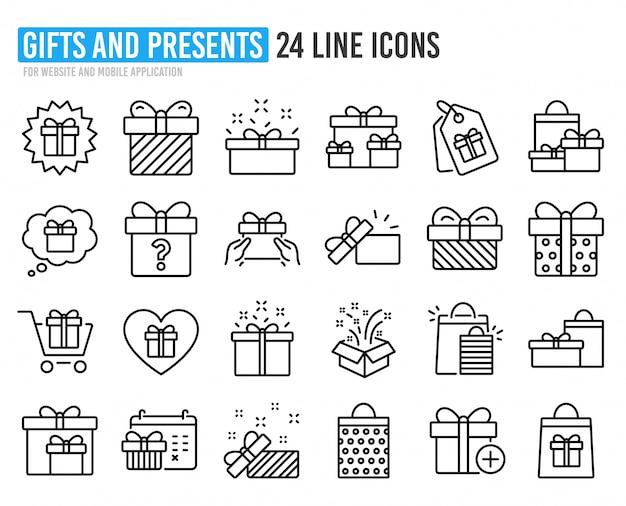 Geschenk lijn pictogrammen. aanwezig, aanbieding en verkoop.