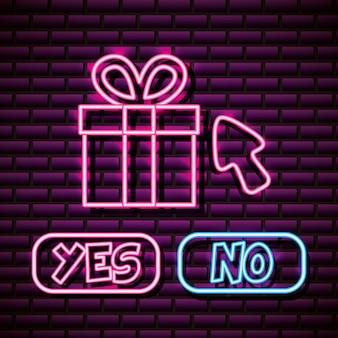 Geschenk met ja en nee over brick wall, neon style
