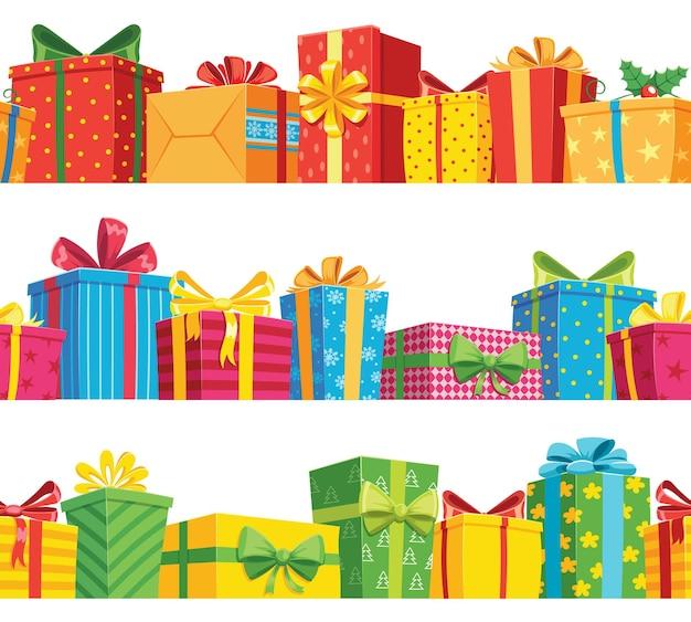 Geschenk naadloze grens. stapel geschenkdoospakket, huidige doos voor vakantieverjaardag en kerstmis, kleurenposter en banner vectorillustratie