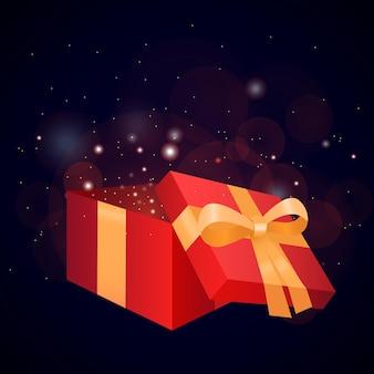 Geschenk, open geschenkdoos, doos, heden, lint, geschenkdoos vector, geschenk