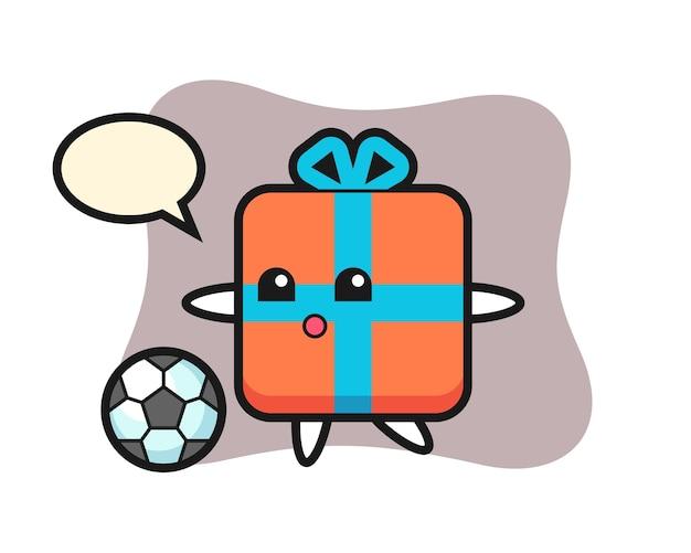 Geschenkdoos cartoon speelt voetbal