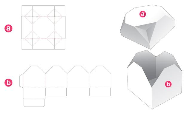 Geschenkdoos en afgeschuind achthoekig deksel gestanst sjabloon