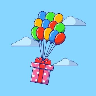 Geschenkdoos en bestellingen gedragen door kleurrijke ballonnen per vliegtuig