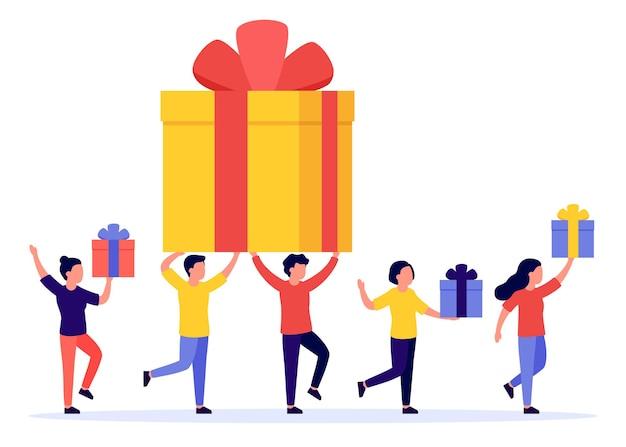 Geschenkdoos en groep gelukkige mensen. beloning, prijs, weggeefactie, bonus. verwijzingsprogramma.