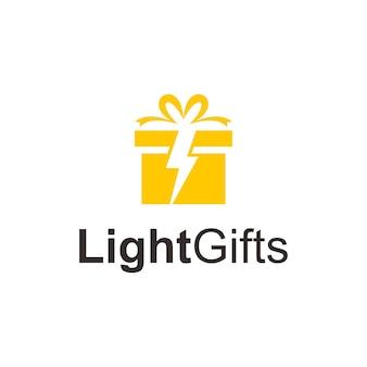 Geschenkdoos en lichtsymbolen eenvoudig strak creatief geometrisch modern logo-ontwerp