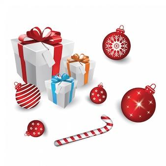 Geschenkdoos en witte kerstcadeaus