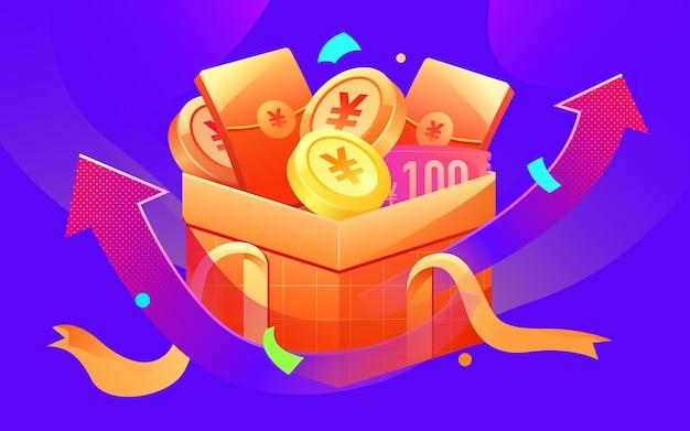 Geschenkdoos gouden munt rood envelop materiaal