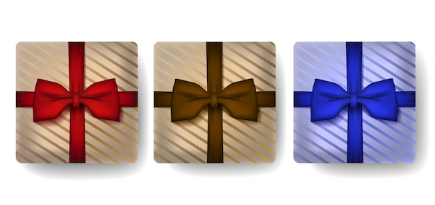 Geschenkdoos in realistische 3d-stijlenset.