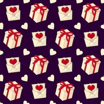 Geschenkdoos, liefdesbrief en hart naadloze patroon achtergrond in gele en paarse kleur.