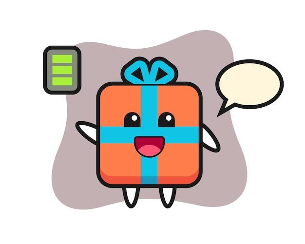 Geschenkdoos mascotte karakter met energiek gebaar