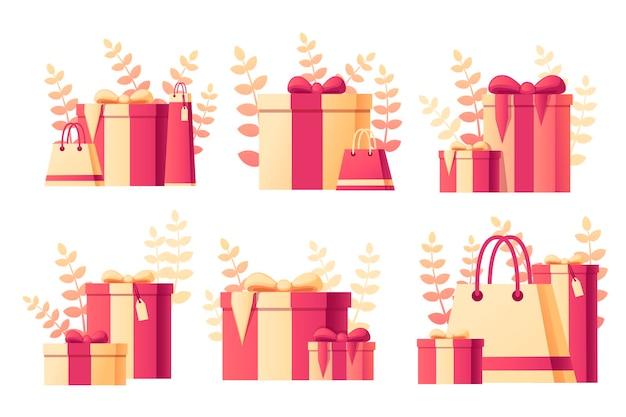 Geschenkdoos met abstracte zachte kleurenpatroon met bladeren op achtergrond platte vectorillustratie op witte achtergrond.