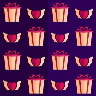 Geschenkdoos met hart engel vleugels op paarse patroon achtergrond.