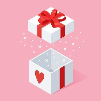 Geschenkdoos met hart geïsoleerd op roze achtergrond