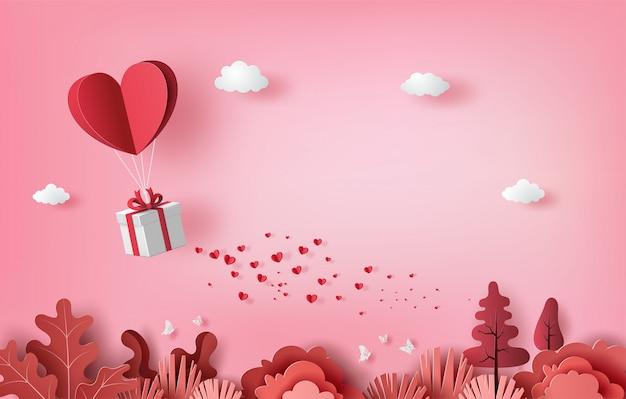 Geschenkdoos met hartballon zwevend in de lucht, happy valentine's day banners, papier kunststijl.