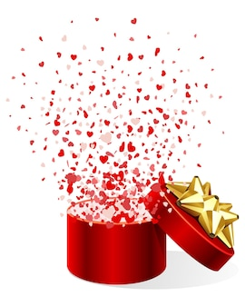 Geschenkdoos met harten confetti illustratie