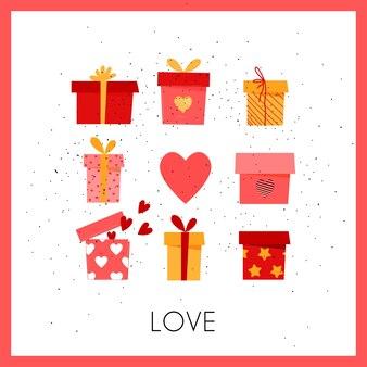 Geschenkdoos met harten. romantische wenskaart voor geliefden.