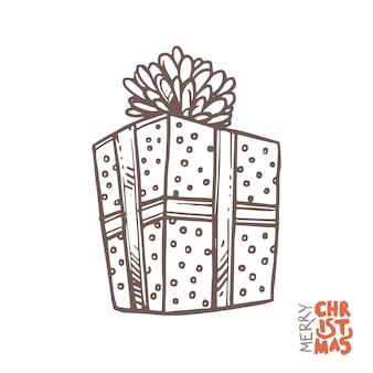 Geschenkdoos met lint in schets hand getrokken stijl, doodle illustratie