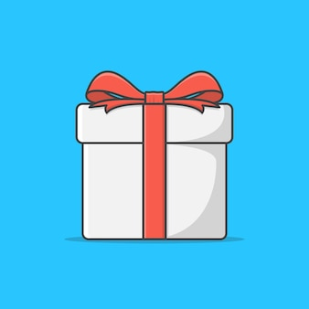 Geschenkdoos met rood lint pictogram illustratie. gift presents bekijk top. geschenkdoos platte pictogram