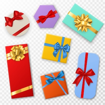 Geschenkdoos met strikken. bovenaanzicht geschenk kleurvakken met rode, blauwe en gouden strik. verjaardags-, kerst- of valentijnscadeaus. decoratie stijlvolle wrap vector set geïsoleerd op transparante achtergrond