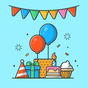 Geschenkdoos met verjaardagstaart partij illustratie