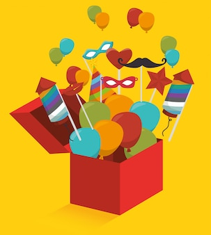Geschenkdoos met vuurwerk en ballonnen